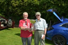 Barry Robinson collects the Wharfedale Trophy from Jeff White