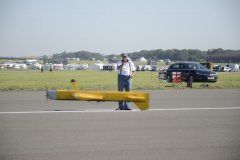 Roy Cherry flying his own design stunt model inverted at the British Nationals.