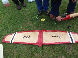 Damaged model aircraft wing
