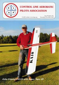 Cover of UK Control Line Aerobatics Pilots Association magazine CLAPTRAP shows scratch built typical large control line stunt model