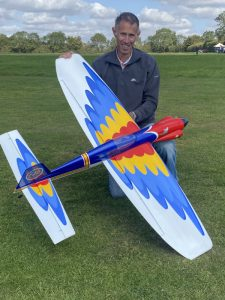 Steve Foster with his home-built Shark F2B control line stunt model
